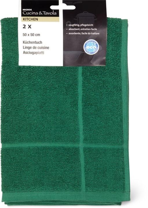Asciugamano spugna 2pz Cucina & Tavola 700349500063 Colore verde scuro Dimensioni L: 50.0 cm x A: 50.0 cm N. figura 1