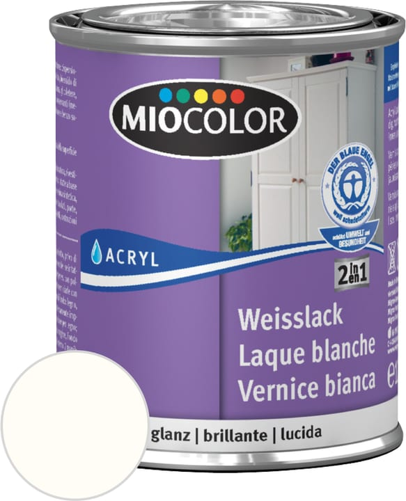 Laque acrylique blanche brillante Miocolor 676771600000 Contenu 125.0 ml Couleur RAL 9010 blanc pur Photo no. 1