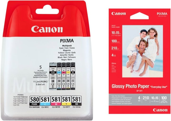 PGI-580/581 Multipack cartuccie d'inchiostro + GP-501 carta fotografica Cartuccia d'inchiostro Canon 798547200000 N. figura 1