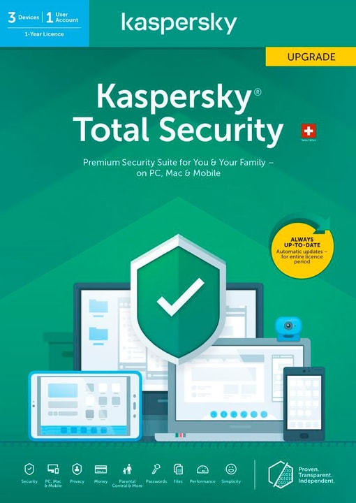 Total Security (3 PC) Upgrade [PC/Mac/Android] (D/F/I) Kaspersky 785300146383 Photo no. 1