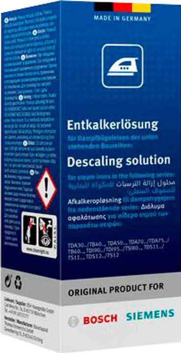 Soluzione decalcificante per generatori di vapore TDZ1101 Bosch 785300144334 N. figura 1