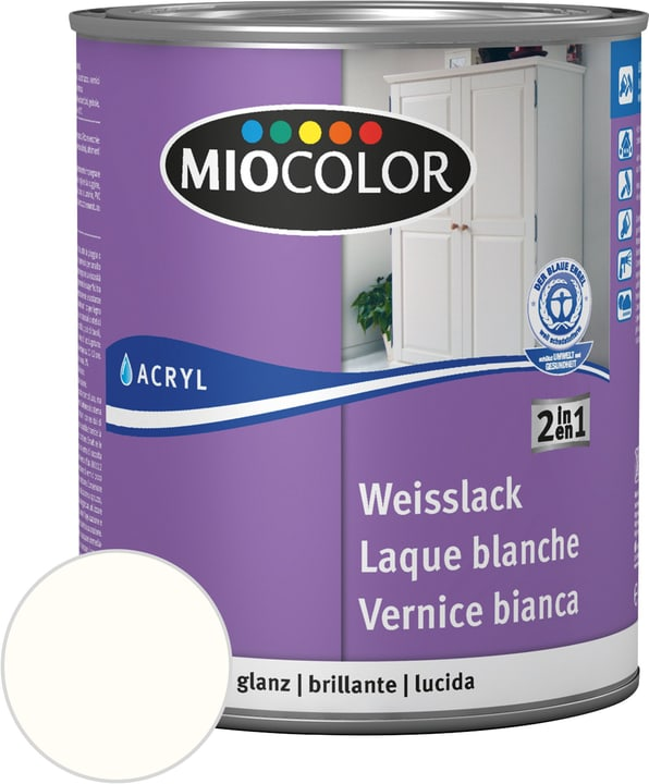 Laque acrylique blanche brillante Miocolor 676771700000 Contenu 375.0 ml Couleur RAL 9010 blanc pur Photo no. 1