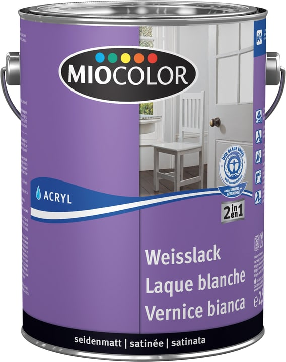 Acryl Weisslack seidenmatt Miocolor 660562700000 Farbe RAL 0095 Inhalt 2.5 l Bild Nr. 1