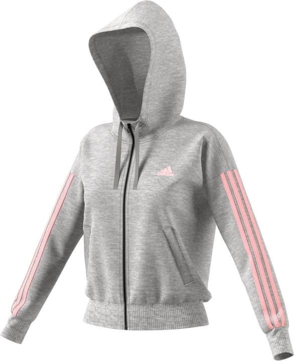 Essentials 3 Stripes Fullzip Hoodie Sweat-shirt à capuche pour femme Adidas 462407400380 Couleur gris Taille S Photo no. 1