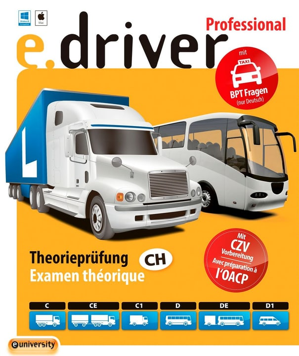 e.driver Professional V1.0 - 700 Fragen [Kat. C/CE/C1/D/DE/D1] [PC/Mac] (D/F) Physisch (Box) euniversity 785300134830 Bild Nr. 1