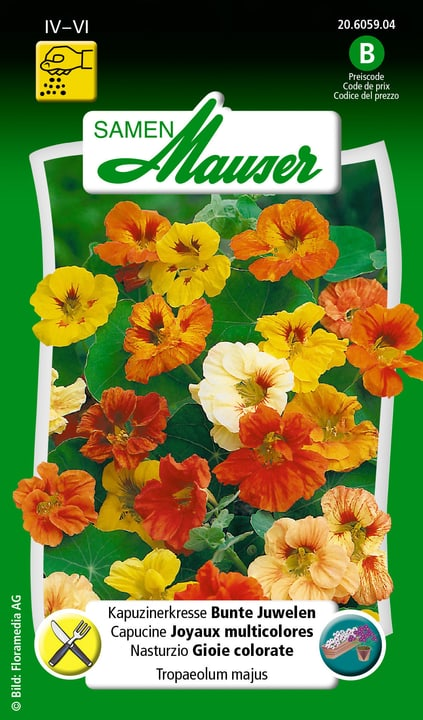 Capucines Joyaux multicolores Semence Samen Mauser 650107803000 Contenu 5 g (env. 25 plantes ou 3 m²) Photo no. 1