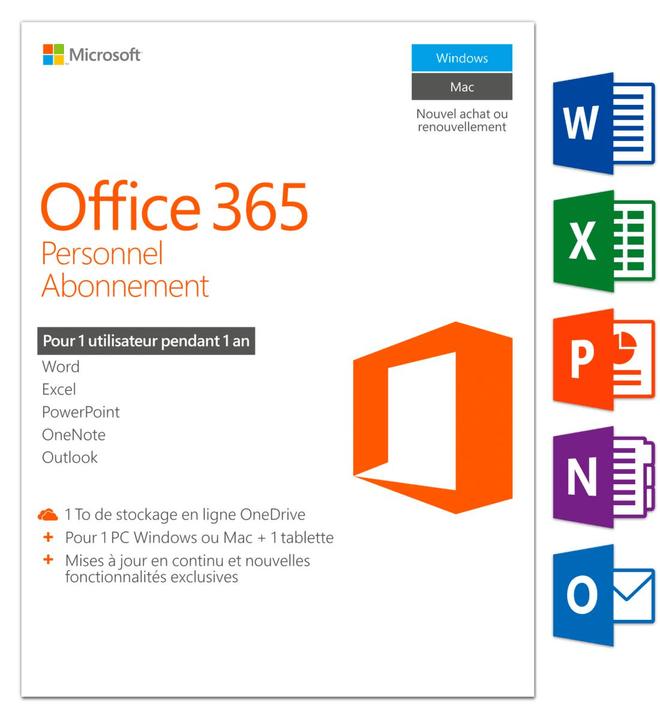 Microsoft Office 365 Personnel 2016 PC/Mac (F) Physique (Box)