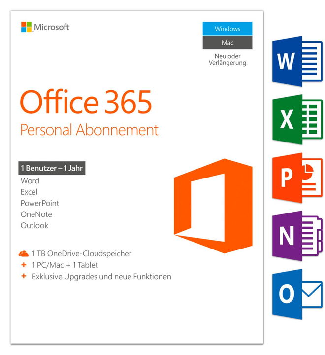 Microsoft Office 365 Personal 2016 PC/Mac (D) Physique (Box)