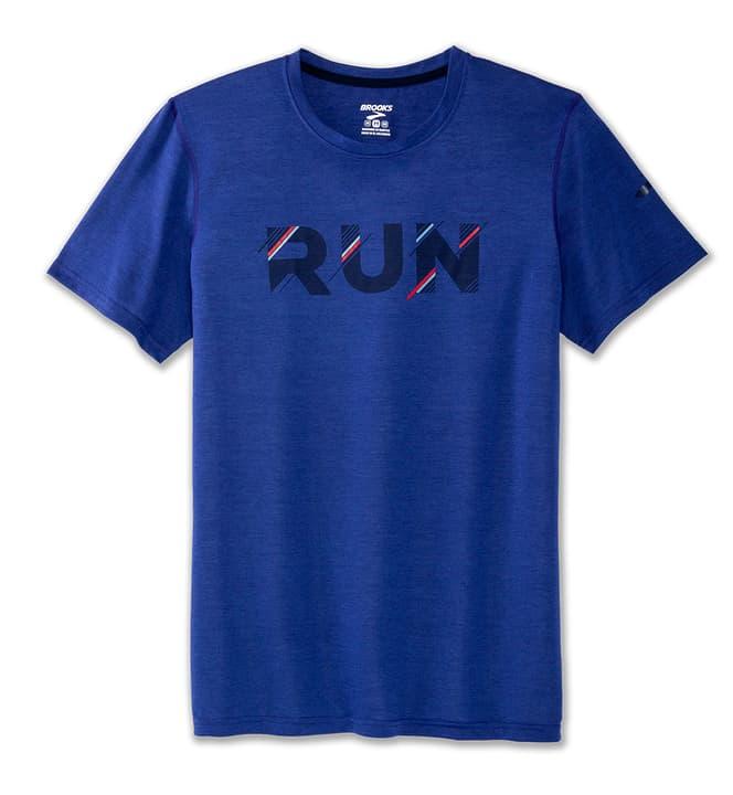 Distance Graphic Tee Shirt pour homme Brooks 470193400340 Couleur bleu Taille S Photo no. 1