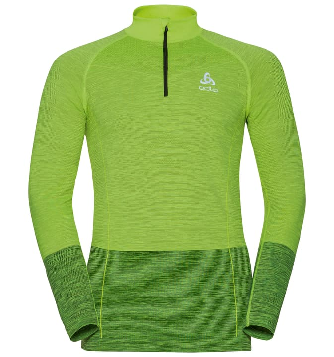 QUAGG seamless Midlayer 1/2 zip Maillot à manches longues pour homme Odlo 461284400355 Colore giallo neon Taglie S N. figura 1