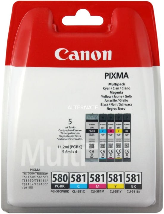 PGI-580/581 Cartouche d'encre Multipack Canon 798542800000 Photo no. 1