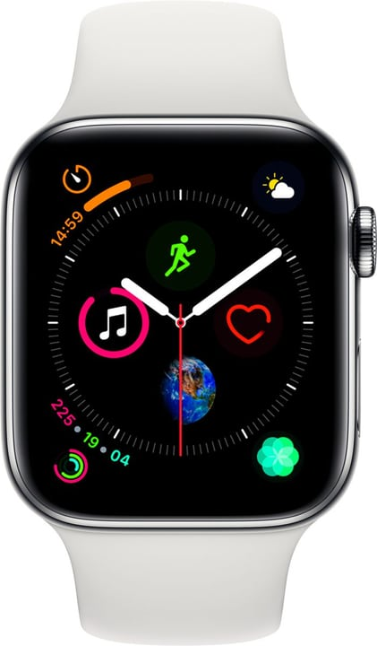 Watch Serie 4 44mm GPS+Cellular Stainless Steel White Sport Band Smartwatch Apple 798454600000 Bild Nr. 1