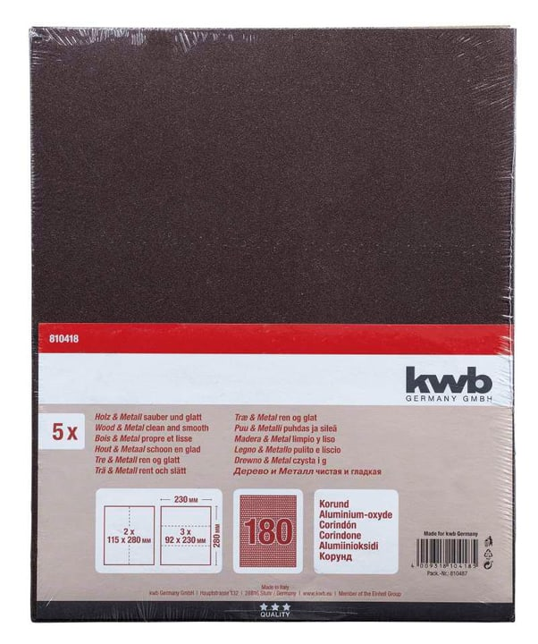 Carta abrasiva corindone GR. 180, 5 pz. kwb 610552200000 N. figura 1