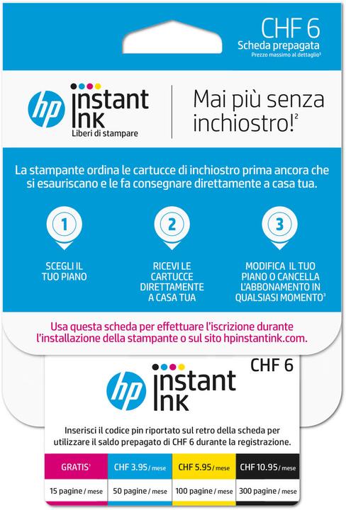 Instant Ink Prepaid Karte CHF 6.- (CH - IT) HP 798250400000 Bild Nr. 1