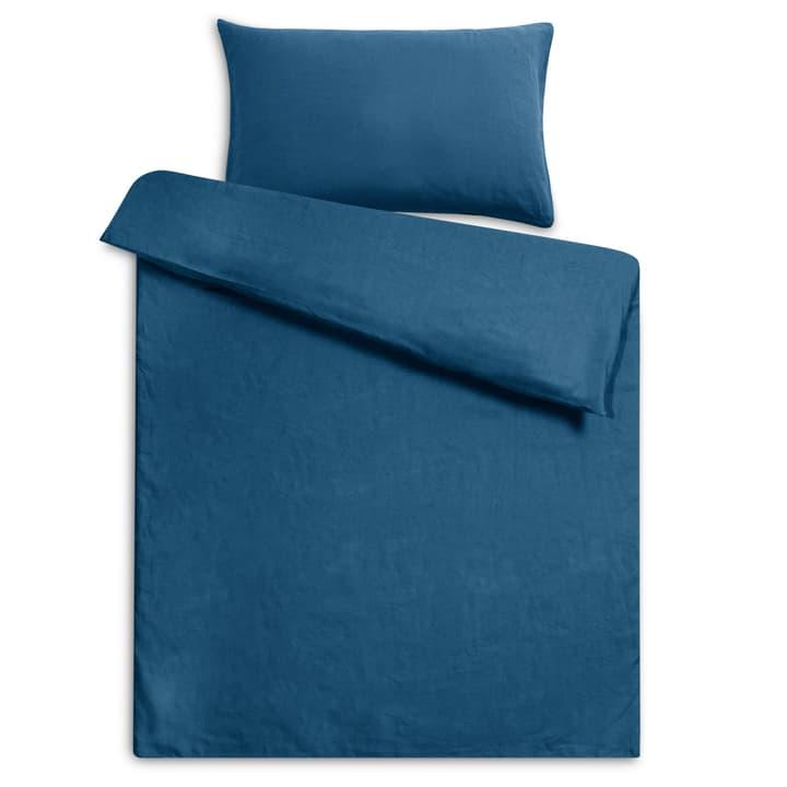 LINEN Housse de couette lin 376073312343 Dimensions L: 210.0 cm x L: 160.0 cm Couleur Bleu marine Photo no. 1