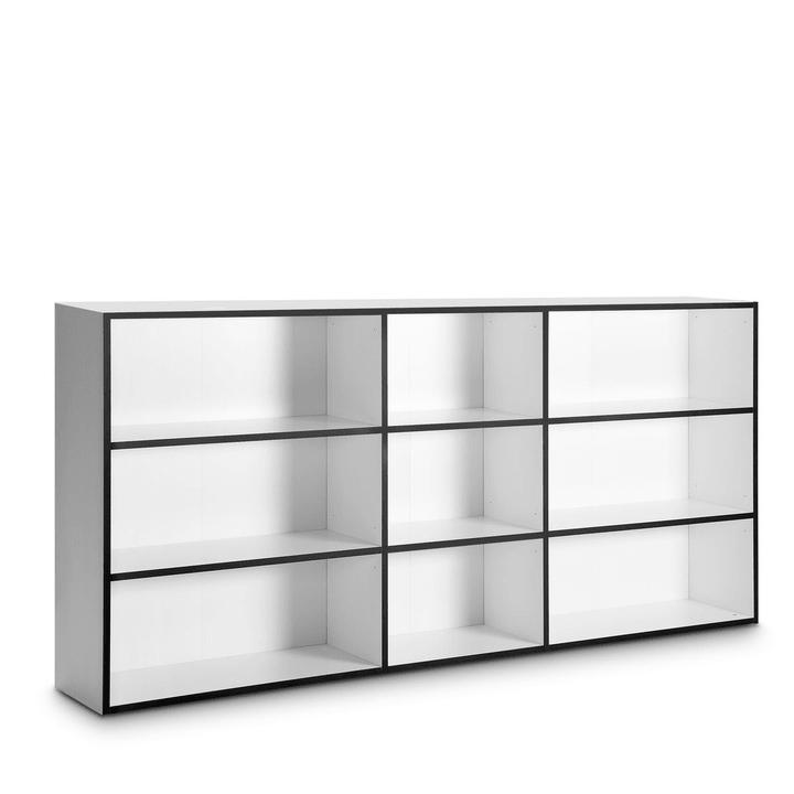 ANGELO basso bianco con bordi neri Scaffale 360980200000 Dimensioni L: 36.0 cm x P: 246.0 cm x A: 118.0 cm Colore Nero a righe N. figura 1