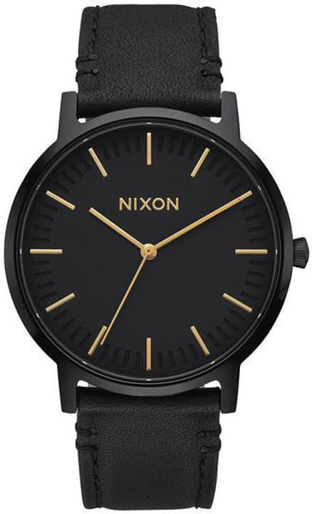 Porter Leather All Black Gold 40 mm Montre bracelet Nixon 785300137045 Photo no. 1