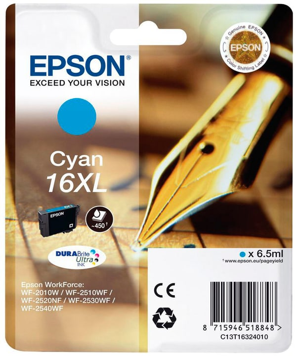 16 XL cyan Cartouche d'encre Epson 796080900000 Photo no. 1