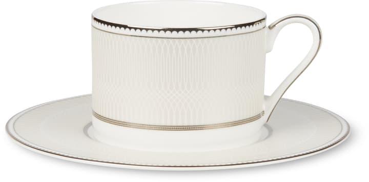 NOBLESSE Tasse a café avec sous-tasse Cucina & Tavola 700160400002 Couleur Blanc / Argent Dimensions L: 17.0 cm x H: 7.0 cm Photo no. 1