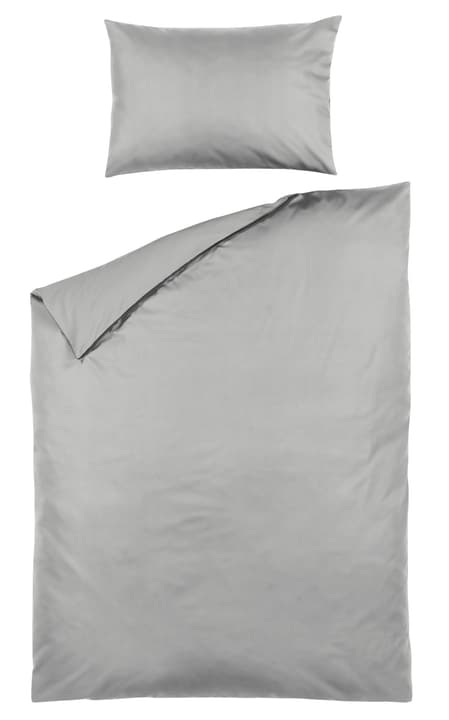 Taie d'oreiller en percale ROMANO 451251310981 Couleur Gris clair Dimensions L: 65.0 cm x P: 100.0 cm Photo no. 1