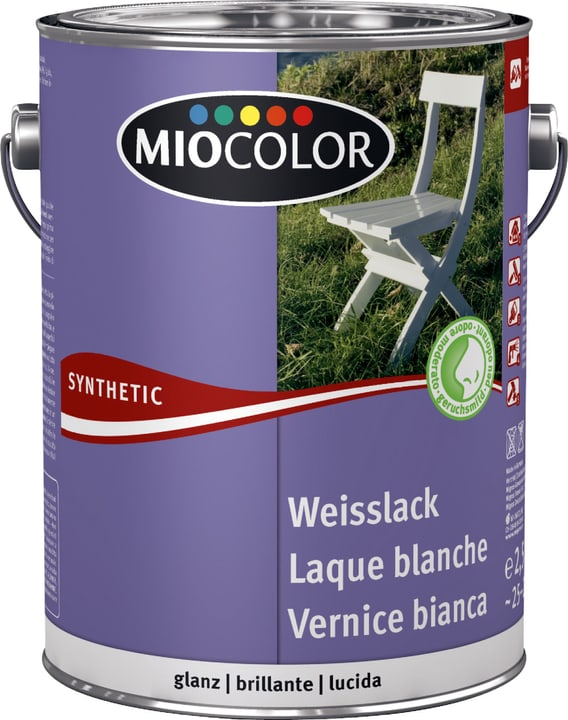 Laque acrylique blanche brillante Miocolor 661445700000 Couleur RAL 0095 blanc Contenu 2.5 l Photo no. 1