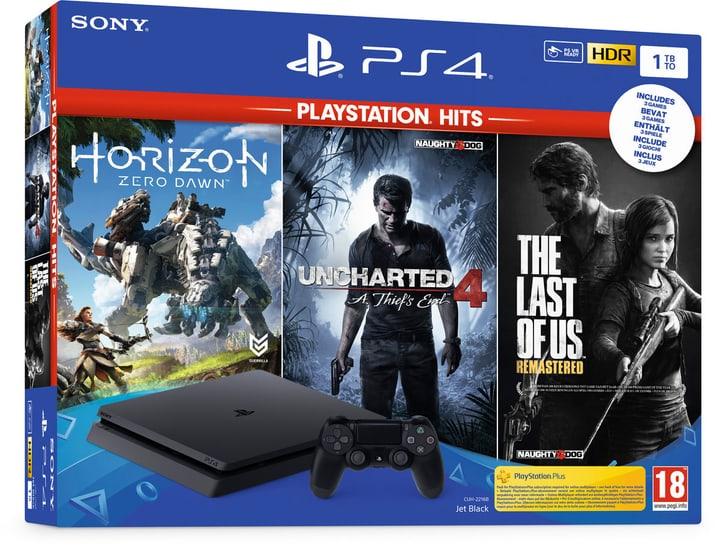 PlayStation 4 1To Black - incl. Uncharted 4 Hits, The Last of Us 1 Hits und Horizon Zero Dawn Hits Console Sony 785443200000 N. figura 1