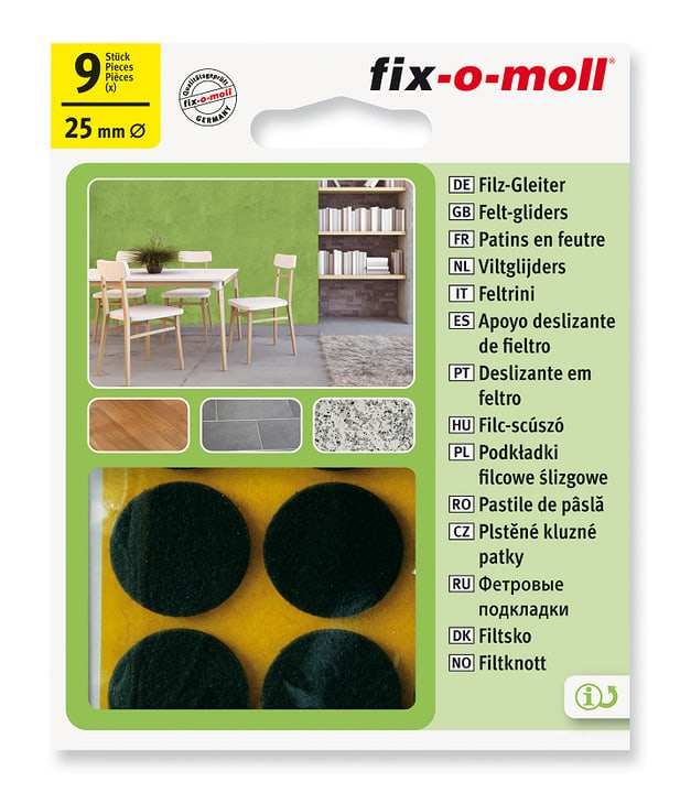 Piedini in feltro 3 mm / Ø 25 mm 9 x Fix-O-Moll 607067700000 N. figura 1