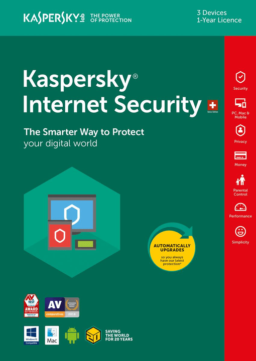 PC / Mac / Android  Internet Security 2018 3 User Fisico (Box) Kaspersky 785300129053 N. figura 1