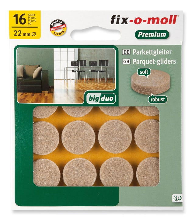 Patins pour parquet 5 mm / Ø 22 mm 16 x Patins Fix-O-Moll 607070600000 Photo no. 1