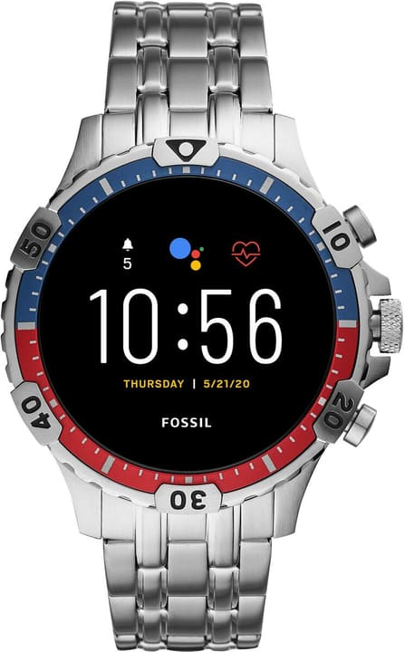 Garrett HR Edelstahl Silber 46mm Smartwatch Fossil 785300151287 Bild Nr. 1