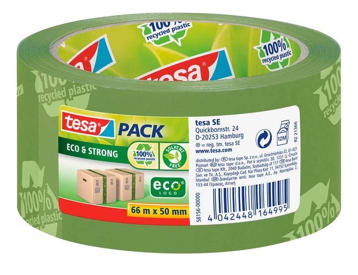 tesapack® eco & strong printed 66m:50mm vert Tesa 663075800000 Photo no. 1