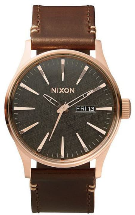 Sentry Leather Gold Gunmetal Brown 42 mm Orologio da polso Nixon 785300136986 N. figura 1