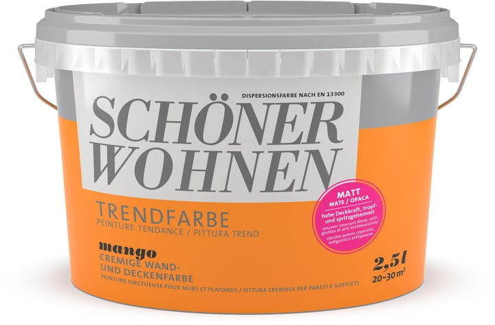 Couleur tendance mate Schöner Wohnen 660906400000 Couleur Mango Contenu 2.5 l Photo no. 1