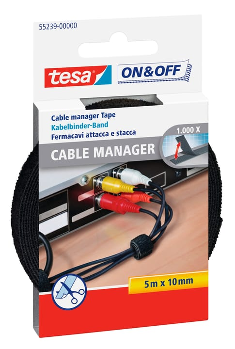 On & Off Cable Manager Universal noir Tesa 663082400000 Photo no. 1