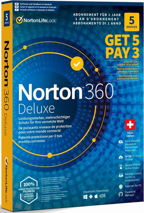 Security 360 Deluxe 50GB 5 for 3 Devices Physisch (Box) Norton 785300151685 Bild Nr. 1