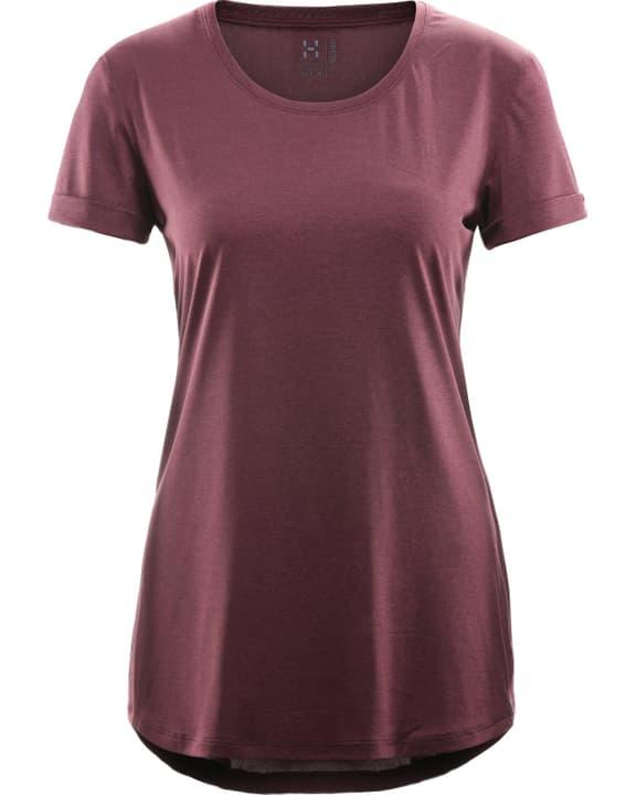 Ridge Hike T-shirt à manches courtes pour femme Haglöfs 462735000388 Couleur bordeaux Taille S Photo no. 1