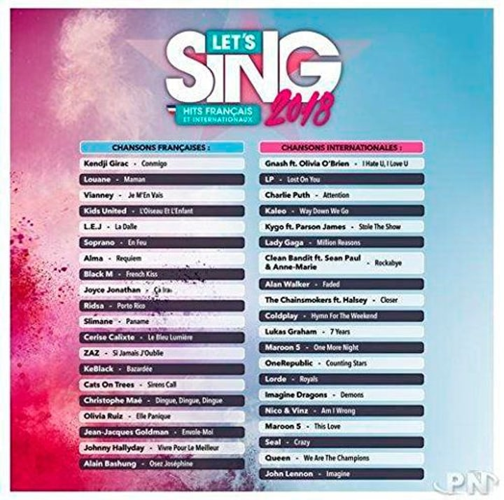 PS4 - Let's Sing 2018 Hits français et internationaux F Box 785300130762 N. figura 1