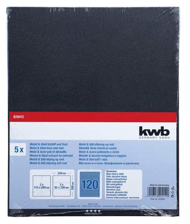 Toile émeri bleu en vrac GR. 120, 5 pcs. kwb 610552700000 Photo no. 1