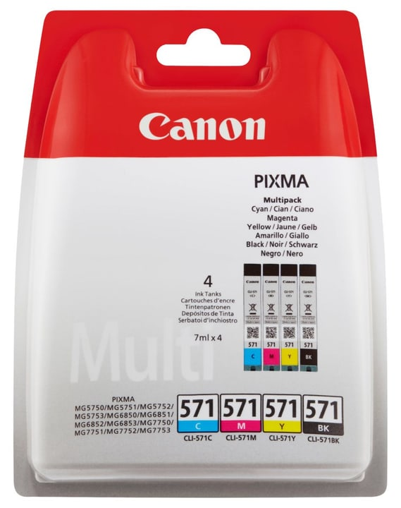 CLI-571 Multipack Cartouche d'encre BKCMY Canon 795845700000 Photo no. 1