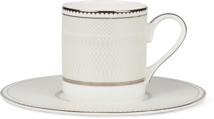 NOBLESSE Tazzina da caffè con piattino Cucina & Tavola 700160400001 Colore Bianco / Argento Dimensioni L: 14.0 cm x A: 7.0 cm N. figura 1