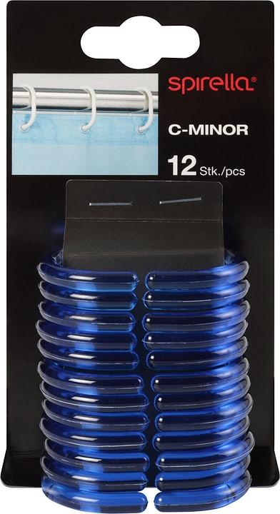 Anneaux de rideau de douche C-Minor spirella 675025000000 Couleur Bleu-transparent Taille 4.7x4cm Photo no. 1