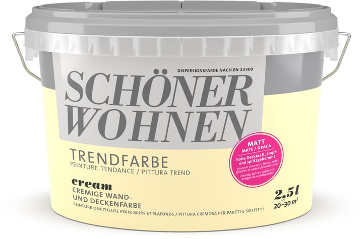 Couleur tendance mate Schöner Wohnen 660907700000 Couleur Cream Contenu 2.5 l Photo no. 1