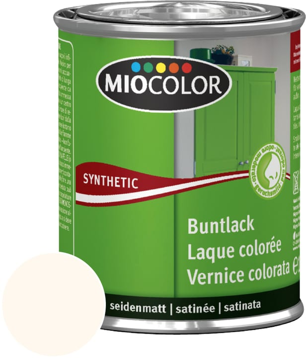 Synthetic Buntlack seidenmatt Cremeweiss 375 ml Miocolor 661435300000 Inhalt 375.0 ml Farbe Cremeweiss Bild Nr. 1
