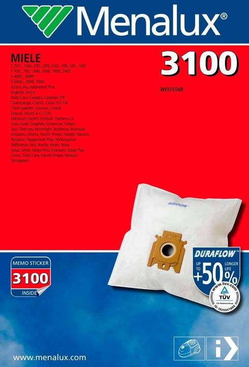 3100 Duraflow Staubbeutel Menalux 785300126928 Bild Nr. 1