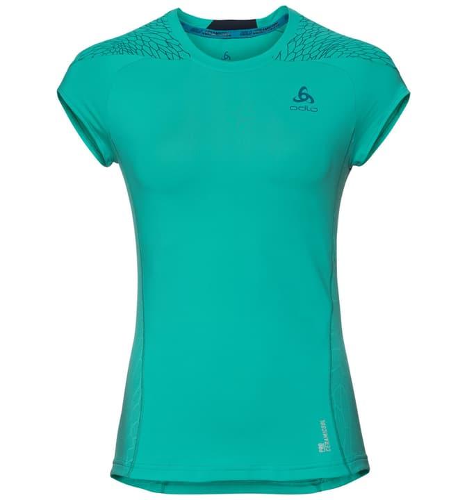 Ceramicool pro Print BL TOP Crew neck s/s Shirt pour femme Odlo 470156600344 Couleur turquoise Taille S Photo no. 1