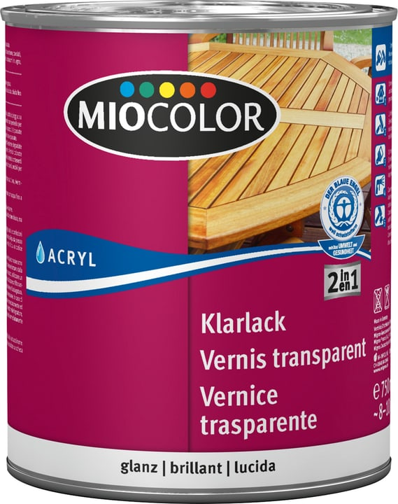 Acryl Klarlack glanz Farblos 750 ml Miocolor 660561300000 Farbe Farblos Inhalt 750.0 ml Bild Nr. 1
