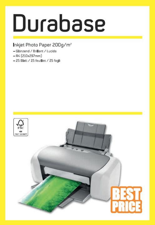 Inkjet Photo Paper A4 200g Durabase 796074800000 Photo no. 1