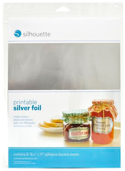 Folie 21,5 cm x 28 cm Silberfolie, bedruckbar Silhouette 785300141884 Bild Nr. 1