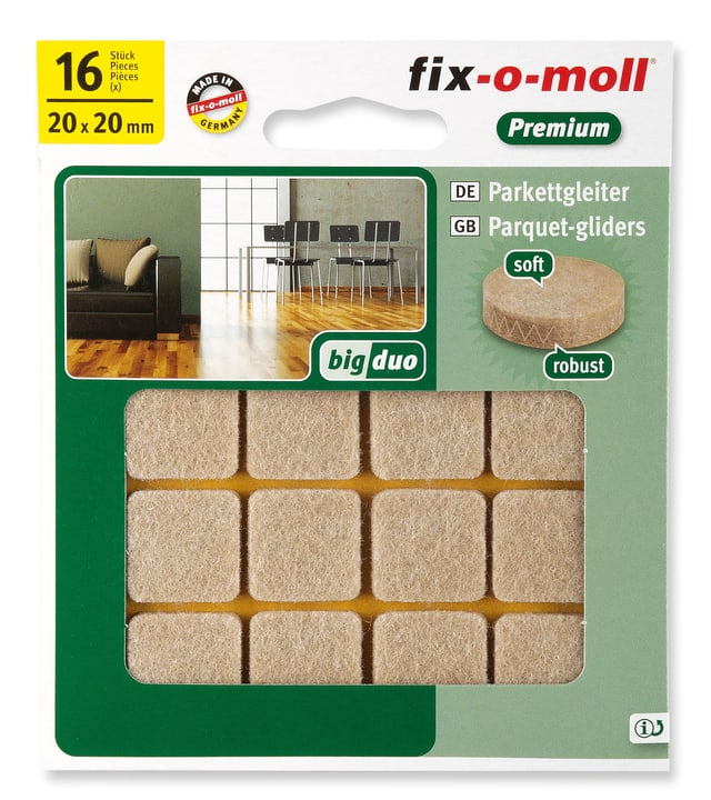 Patins pour parquet 5 mm / 20 x 20 mm 16 x Fix-O-Moll 607070700000 Photo no. 1