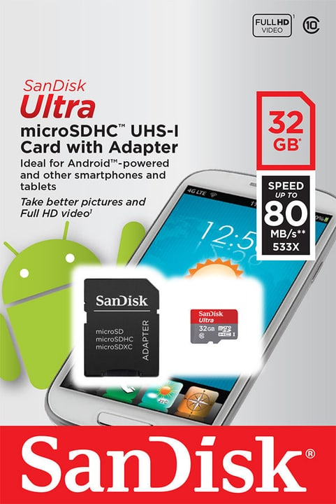 Ultra 80MB/s microSDHC 32GB Mobile SanDisk 797958200000 Photo no. 1